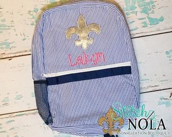 Seersucker Backpack with Glitter Fleur de Lis, Seersucker Diaper Bag, Seersucker School Bag, Seersucker Bag, Diaper Bag, School Bag, Book Ba