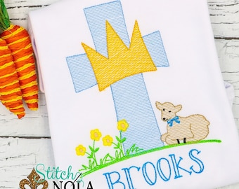 Easter Cross with Lamb Sketch Embroidery, Bunny Rabbit Embroidery, Peter Cottontail, Cross, Lamb, Easter Basket