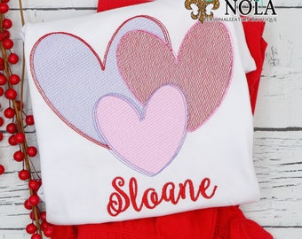 Heart Stacked Trio Sketch Top And Bottom Set, Valentine's Day Outfit, Heart Embroidery, Girls Valentine's Day Outfit, Monogram Embroidery
