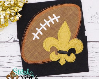 Fleur De Lis Football Shirt, Black and Gold Fleur De Lis Football, Football Applique Shirt