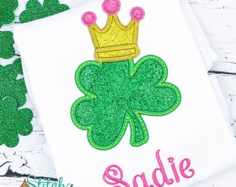 Shamrock with Crown St. Patrick's Day Shirt, Gown or Bodysuit