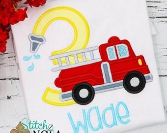 Fire Truck Hose Birthday Shirt, Bodysuit, Romper or Bubble