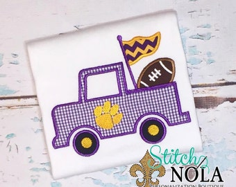 Purple & Gold Paw Truck with Football T-Shirt or Bodysuit