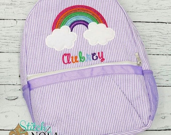 Seersucker Backpack with rainbow Seersucker Diaper Bag, Seersucker School Bag, Seersucker Bag, Diaper Bag, School Bag, Book Bag, Backpack