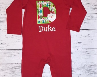 Red Long Sleeve  Romper with Santa Alpha Applique/Name