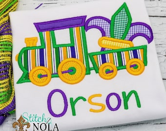 Mardi Gras Train Applique