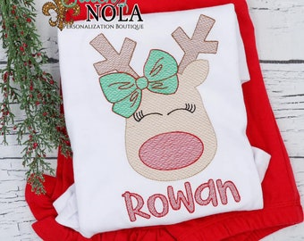 Reindeer With Bow Top and Bottom Set, Girl Reindeer Sketch EmbroideryOutfit, Christmas Outfit