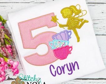 Fairy Tea Birthday Shirt, Fairy Applique, Tea Pot Birthday,Little Tea Pot Birthday, Tea Pot Applique, Tea for Two, Tea Party Birthday