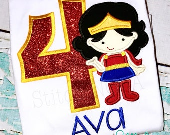 Girl Super Hero Birthday Applique, Girl Super Hero Birthday, Wonder Girl Birthday