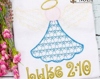 Vintage Christmas Angel Embroidery, Angel Motif Design, Christmas Sketch Design, Christmas Shirt, Personalized Holiday Shirt