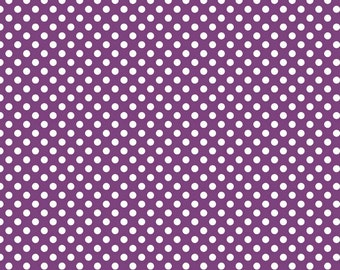 Purple Small Dots Fabric, Riley Blake, 100% Cotton, Purple Polka Dots