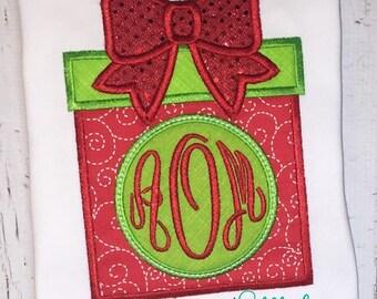 Christmas Present Monogram Applique