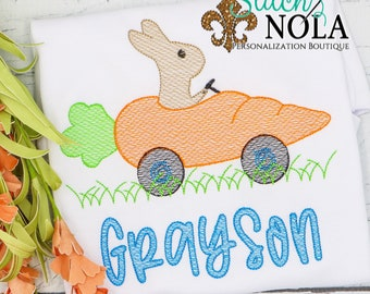 Bunny in Carrot Car Easter Sketch Embroidery, Spring Embroidery, Easter Shirt, Spring Shirt, Boy Easter Shirt