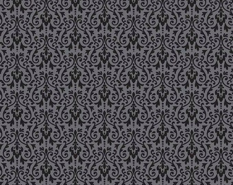 Black Ghouls Damask Fabric, Riley Blake, 100% Cotton Black Damask