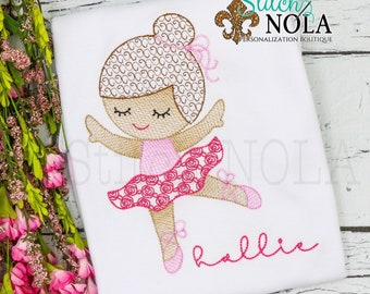 Ballerina Sketch Embroidery, Ballerina Embroidery, Ballerina Shirt, Dancer