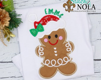 Christmas Gingerbread Girl Applique, Gingerbread With Bow Applique, Personalized Christmas Shirt, Holiday Shirt, Xmas