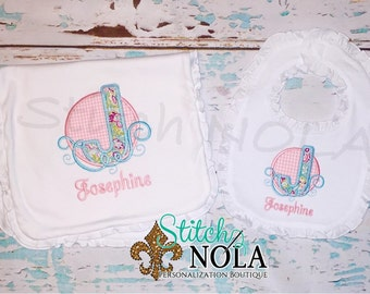 Letter Applique Infant Gown, Baby Going Home Outfit, Layette Set, Bib, Burp Cloth, Bloomers, Infant Cap