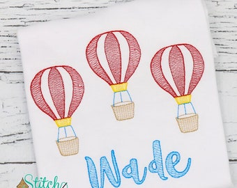Hot Air Balloon Trio Sketch Embroidery, Hot Air Balloon Shirt