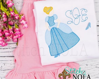 Cinderella Inspired Sketch Embroidery Top and Shorts Set, Magical Princess