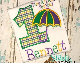 Mardi Gras Birthday, Second line birthday, They all asked for you Birthday, Mardi Gras Applique, Umbrella Applique, New Orleans Birthday