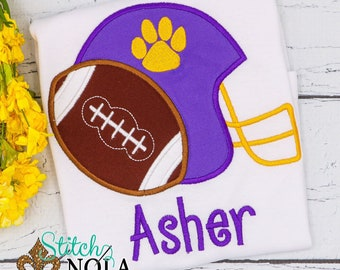 Helmet and Football Applique, Football Applique, Paw with Football Shirt, Romper or Bodysuit