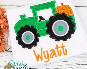 Pumpkin Tractor appliqué, Halloween shirt, tractor with pumpkin shirt, boys fall shirt