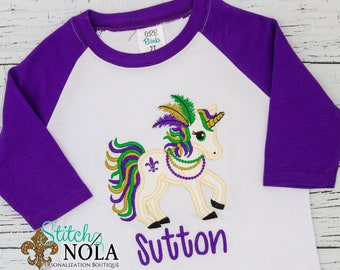 Mardi Gras Unicorn Applique, Unicorn Applique, Unicorn Shirt, Unicorn Purple, Green and Gold, Mardi Gras Shirt