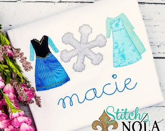 Frozen Inspired Trio, Frozen Princess, ice princess dresses and snowflake Trio, Princess Shirt, Frozen Shirt