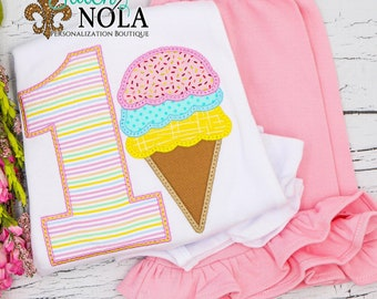 Ice Cream Cone Birthday Applique Shorts Set, Ice Cream Birthday Applique