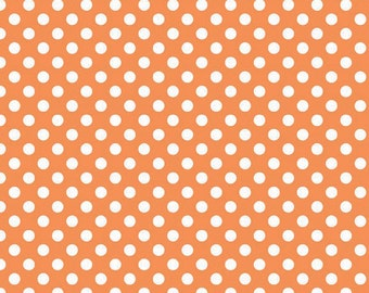 Orange Small Dots Fabric, Riley Blake, 100% Cotton, Orange Polka Dots