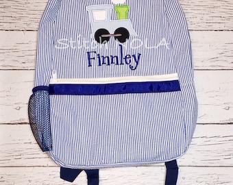 Seersucker Backpack with Train, Seersucker Diaper Bag, Seersucker School Bag, Seersucker Bag, Diaper Bag, School Bag, Book Bag, Backpack