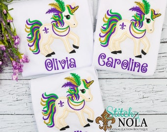 Mardi Gras Unicorn Applique, Unicorn Applique, Unicorn Shirt, Unicorn Purple, Green and Gold, Mardi Gras Shirt