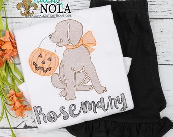 Trick or Treat Dog Vintage Embroidery Shirt and Shorts Set, Trick or Treat Pumpkin Dog Sketch, Girl Dog Halloween Outfit,