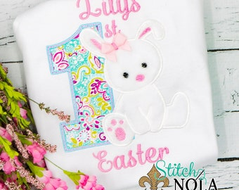 1st Easter Applique, Baby's First Easter, Easter Applique, Bunny Applique, Boys 1st Easter, Girls 1s Easter