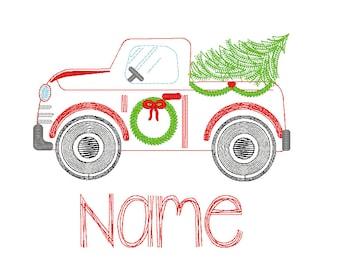 Vintage Christmas Truck Car, Vintage Christmas Embroidery, Christmas Truck Sketch Embroidery, XMAS TREE