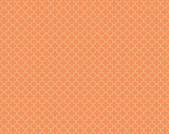 Orange Mini Quatrefoil Fabric, Riley Blake, 100% Cotton, Orange Quatrefoil