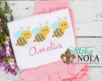 Bumble Bee Trio Outfit, Bumble Bee Shirt and Short Set, Bee Sketch Trio Embroidery Shirt, Personalized Bumble Bee Shirt