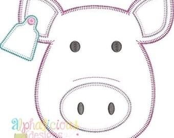 Pig Applique, Pig Shirt, Farm Animal Applique, Farm Animal Shirt