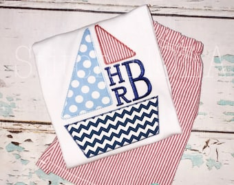 Sailboat Monogram Top & Shorts Set