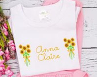 Personalized Sunflower Shirt and Short Set, Girls Summer Outfit, Sunflower Shirt