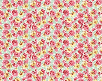 LILY GARDEN MINT by Penny Rose Fabrics, 100% Cotton, Floral Cotton Fabric