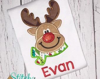 Boy Reindeer with Scarf Shirt or Bodysuit