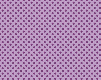 Small Dot Tone On Tone Lavender Fabric, Riley Blake, 100% Cotton Purple Polka Dots