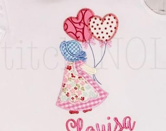 Little Bonnet Girl Applique, Girl with Heart Balloons Applique, Valentine's Day Applique, heart Balloons