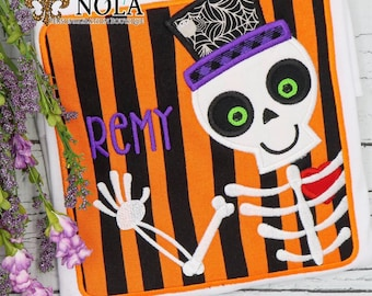 Skeleton Appliqué, Skeleton Appliqué with Name, Skeleton Shirt, Halloween Shirt