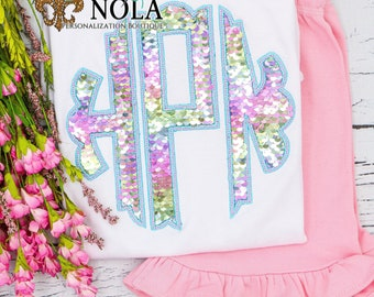 Flip Sequin scalloped monogram Applique Top And Bottom Set, Rainbow and Silver Flip Sequins, Sequined monogrammed Outfit