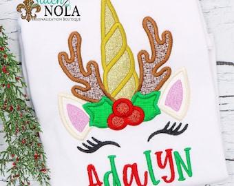 Unicorn Reindeer Applique, Christmas Unicorn Appliqué, Christmas Reindeer Applique, Personalized Christmas Shirt