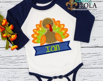 Thanksgiving Outfit for Boys, Holiday Outfit, Turkey Applique Shirt