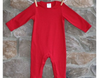 Red Long Sleeve UNISEX Romper with Applique/Name