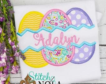 Split Egg Trio Applique, Easter Egg Applique, Easter Applique Shirt, Girls Easter Shirt, Easter Egg Hunt Applique